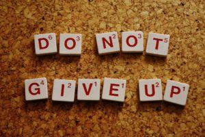 Niet opgeven - blijven gaan