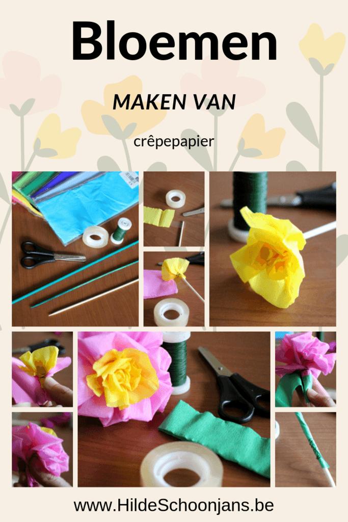 Bloemen maken van papier - crêpepapier