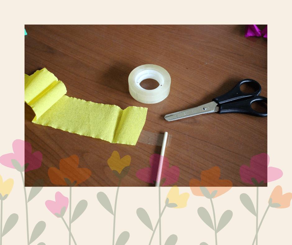 Bloemen maken van papier - stap 1