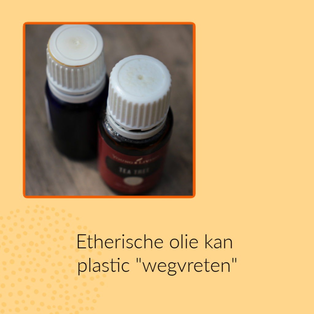 Etherische olie kan plastic wegvreten